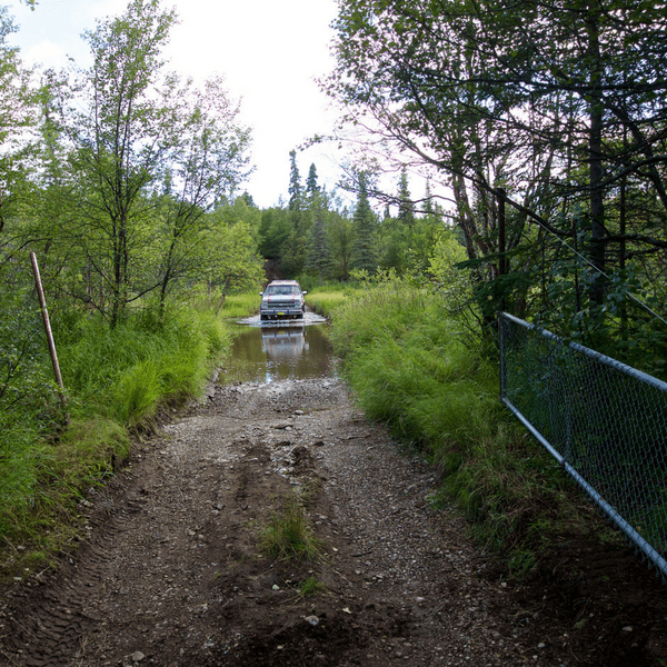 Road to the gate at the Newhalen River Gorge